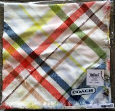"""NWT Coach Heritage Stripe Tattersall 44"""" square 100% Modal scarf  MSRP $128"""