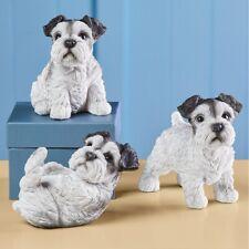 Set of 3 Schnauzer Puppy Dog Indoor/Outdoor Garden Sitter Figurines