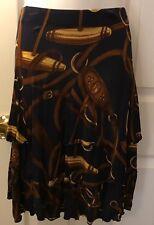 Lauren RALPH LAUREN Bridle Horse Bit Skirt Navy Blue Tiered Jersey Knit Sz M