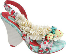 IRREGULAR CHOICE SHOES RASPBERRY RIPPLES SIZE 9.5 IVORY SATIN RIBBON BERRIES NIB