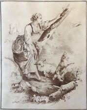 Charles Josuah CHAPLIN (1825-1891) Bergère et oiseau messager dessin à la plume