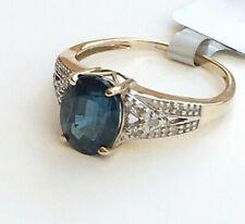 9ct 375 Hallmarked Yellow Gold London Blue Topaz & Diamond Ring Size N 1/2