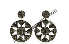 Silver 925 Victorian Style New Earrings Latest 4.42ct Antique Rose Cut Diamond &