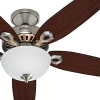 "52"" Hunter Builder Series Ceiling Fan - Brushed Nickel w/ Frosted Bowl Light Kit"