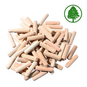 HARDWOOD DOWELS 6mm 8mm 10mm Wooden Beechwood Chamfered Fluted Pin Wood