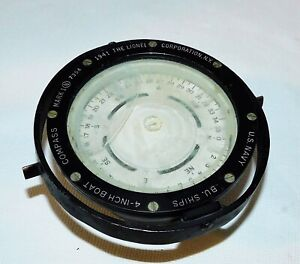 "WWII Navy 1941 Lionel BU. Ships 4"" Boat Compass Mark I # 7354"