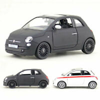 1/30 Scale Fiat 500 Model Car Metal Diecast Gift Toy Vehicle Kids Pull Back
