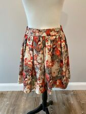 Korean women's size S multicolor floral pleated flare Party skirt Coral Pink Gap