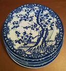Set of 6 Plates Cherry Blossom Floral White Blue Vintage Porcelain Japan Nippon