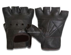 2 Pair Mens Biking Driving Workout Motorcycle Brown Leather Fingerless Gloves