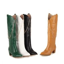 Ladies Cowboy Knee High Boots Block Chunky Heels Riding Boot Shoes Plus Size 2-9