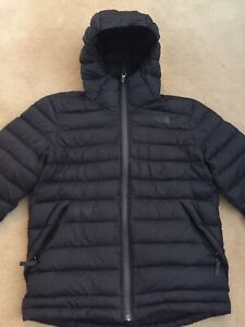 Boys Black The North Face Jacket Feather Down Filled Size L Large Quilted Hood