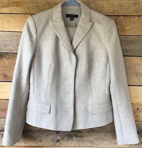 Ann Taylor Petite Size 4P two-piece beige career skirt suit both lined