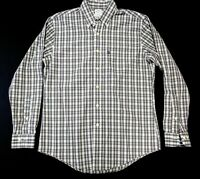 Brooks Brothers 346 Mens M Slim Fit Long Sleeve Button Down Shirt Gray White EUC
