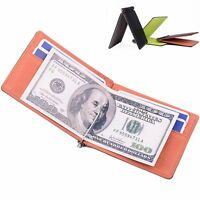 Money Clip Short Style Wallet ID Credit Card Holder Bifold Wallet PU Leather