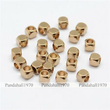 500 Pcs Cube Unplated Brass Bead Spacers Crafts For DIY Jewelry Making 4x4mm