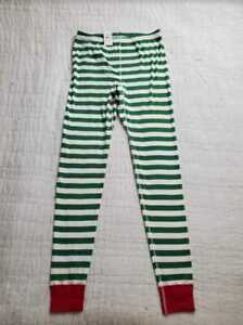 NEW ADULT L HANNA ANDERSSON ADULT LONG JOHN PANT IN ORGANIC COTTON GREEN STRIPE