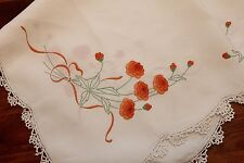Vintage Hand Embroidered Tablecloth - Orange Flowers - 34 inch square -GVC