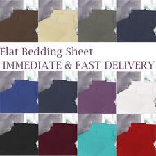 Flat Sheet Plain Dyed PolyCotton Bed Sheets Single, Double & King Size UK
