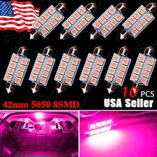 10X Pretty Pink 578 211-2 569 42MM 5050 Festoon Dome Map Interior LED Light bulb