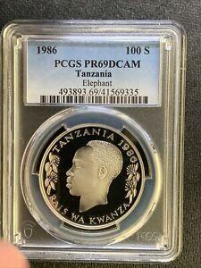 Tanzania 1986 100 S / Elephant/ Beautiful Silver PCGS PR69DCAM &*No Reserve!