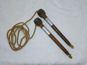 SWEET VINTAGE SKIPPING ROPE WITH WOODEN/ METAL HANDLES AND ORIGINAL ROPE