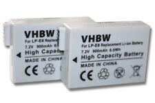 2x BATTERY FOR CANON EOS 600D 600 D 600-D ACCU