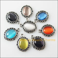 8 New Retro Charms Tibetan Silver Cat Eye Stone Oval Pendants Mixed 13.5x18mm