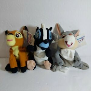 "New Disney Store Bambi 8"" Bambi Flower and Thumper Bean Bag Plush Dolls Toy"