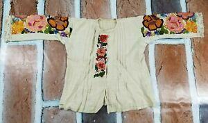 Vintage 19th Century Hungarian Matyo Hand Embroidered Shirt Jacket Coat 132x59cm