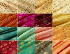 "Indian Gold Metallic Jacquard Brocade Silk Fabric 49"" By the Yard Many Design"