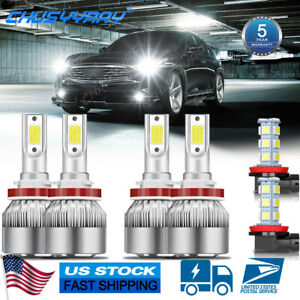 For Infiniti EX35 2008 2010 2011 2012 6x 6000K LED Headlight+Fog Light Bulbs Kit