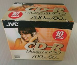 10 PACK BLANK JVC CD-R RECORDABLE DISCS 700mb/80min *NEW & SEALED*