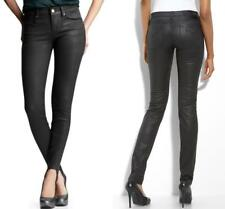 Ladies Black Coated Leather Slim Fit Stretch Skinny Jeans Trousers Uk Sizes 6-18