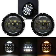"7"" Black Projector HID 6500K LED Octane Headlight w/ White & Amber DRL Pair"