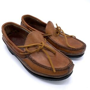 GOKEY COMPANY Tan Leather Slip On Loafers Men's Size 8 Moc Toe Boat Shoes