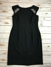 NWT Nine West Womens 12 Little Black Dress Feather Rhinestone Sequin Embroidery