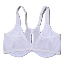Womens 46DD Bra White Ultrathin Full Coverage Reduction Sports Bra Front Closure