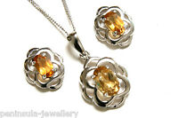9ct White Gold Citrine Pendant Necklace and Earring Set Made in UK Gift Boxed
