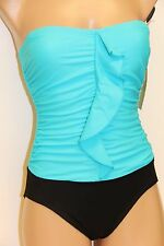 New Tropical Honey Swimsuit Bikini 1 pc Sz 12 Aqua Black Strapless