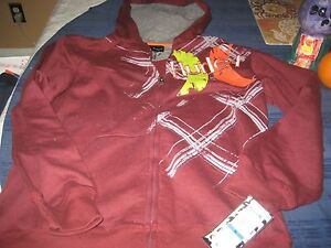 BOYS HURLEY YOUTH KIDS ZIP UP HOODIE HOODY SIZE EXTRA LARGE  XL MAROON  NWT  $52