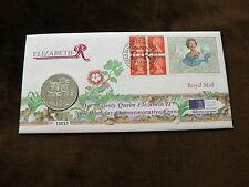 1996 GB £5 Pounds Coin + Commemorative Label Cover, 70th Birthday Elizabeth II