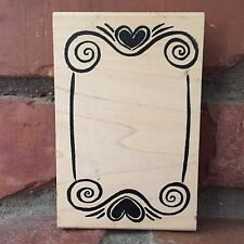 Vintage 1998 Ducks In A Row Wood-Mounted Rubber Stamp A Heart Scroll Swirl Frame