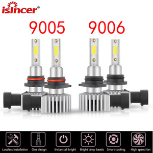 4PCS 9005+9006 LED Headlight Combo26W White 6500K 8000LM Kit High Low Beam 12V