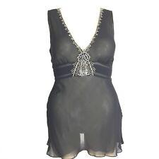 DKNY 14 L 100% Silk Top Black Sheer Bead Embellish Pleat Empire Blouse Sexy NICE
