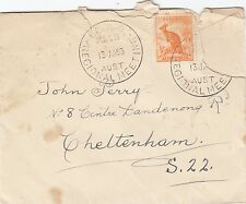 Stamps 1/2 orange kangaroo on 1953 cover I.C.A.O postmark scarce but torn off