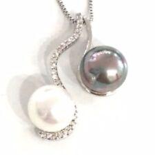 Handmade White Akoya Tahitian Pearl Pendant Necklace 14K Gold Women Jewelry Gift