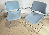 Vintage Krueger Metal Stacking Steel Chairs Teal Retro Mid-Century Modernism
