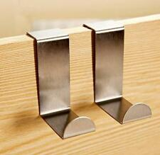 2x Over Door Hook Stainless Kitchen Cabinet Clothes Hanger Organizer Holder