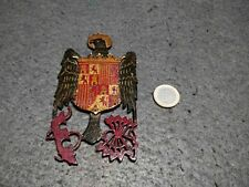 VERY RARE WOOD SPAIN CIVIL WAR FRANQUIST COAT OF ARMS CREST HAND PAINTED